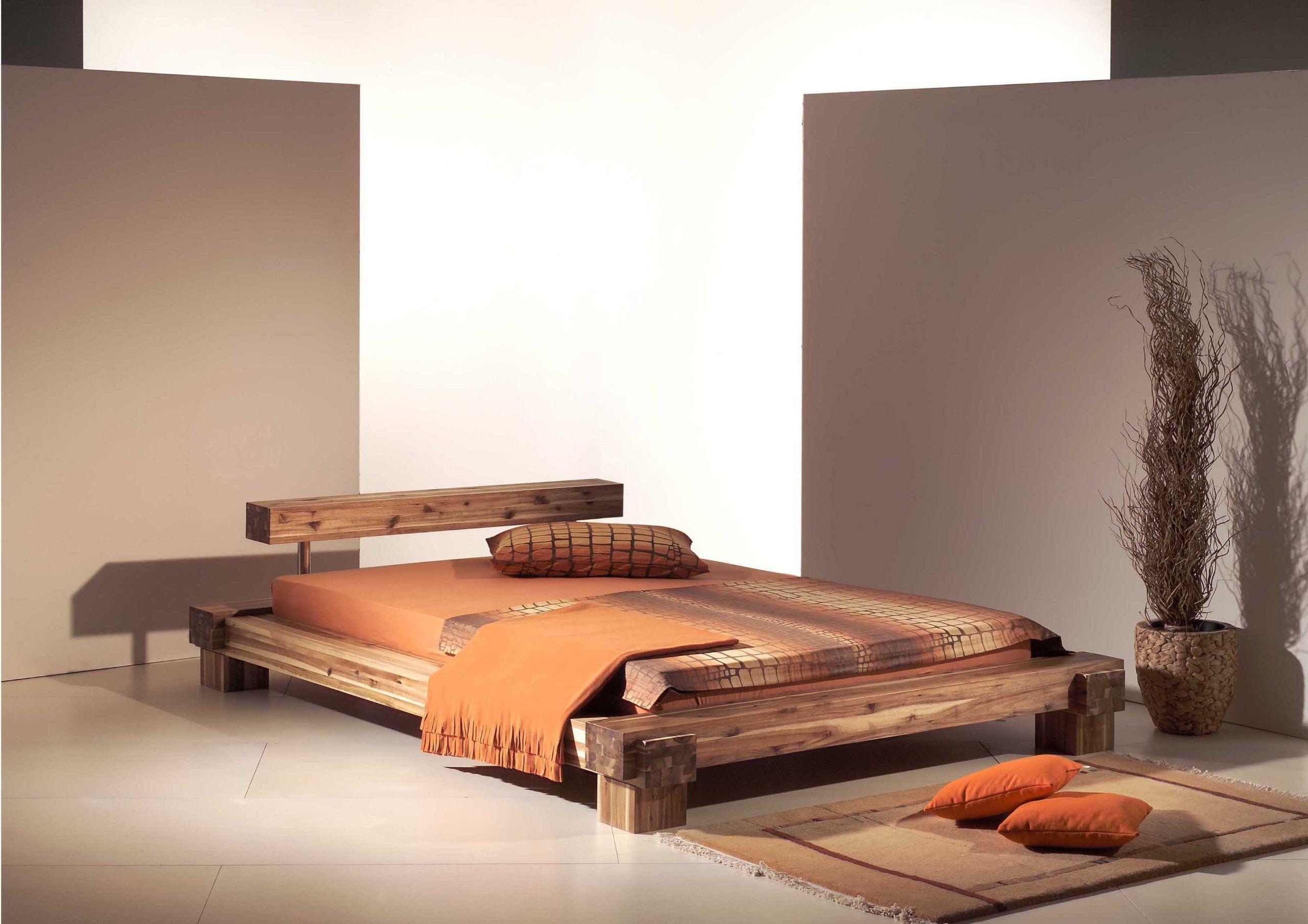 Holzbett massiv 180x200  Modular cal180.41 Bett Cali / 180 x 200 cm / Akazie massiv, natur ...