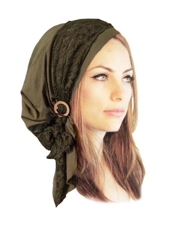 f0f10bfacb2 Olive Green Head Scarf Boho Chic Pre Tied Bandana Tichel Hair Snood ...