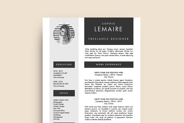 Resume Template (MS Word) Sophie CV Design #Resume #Job - windows resume templates