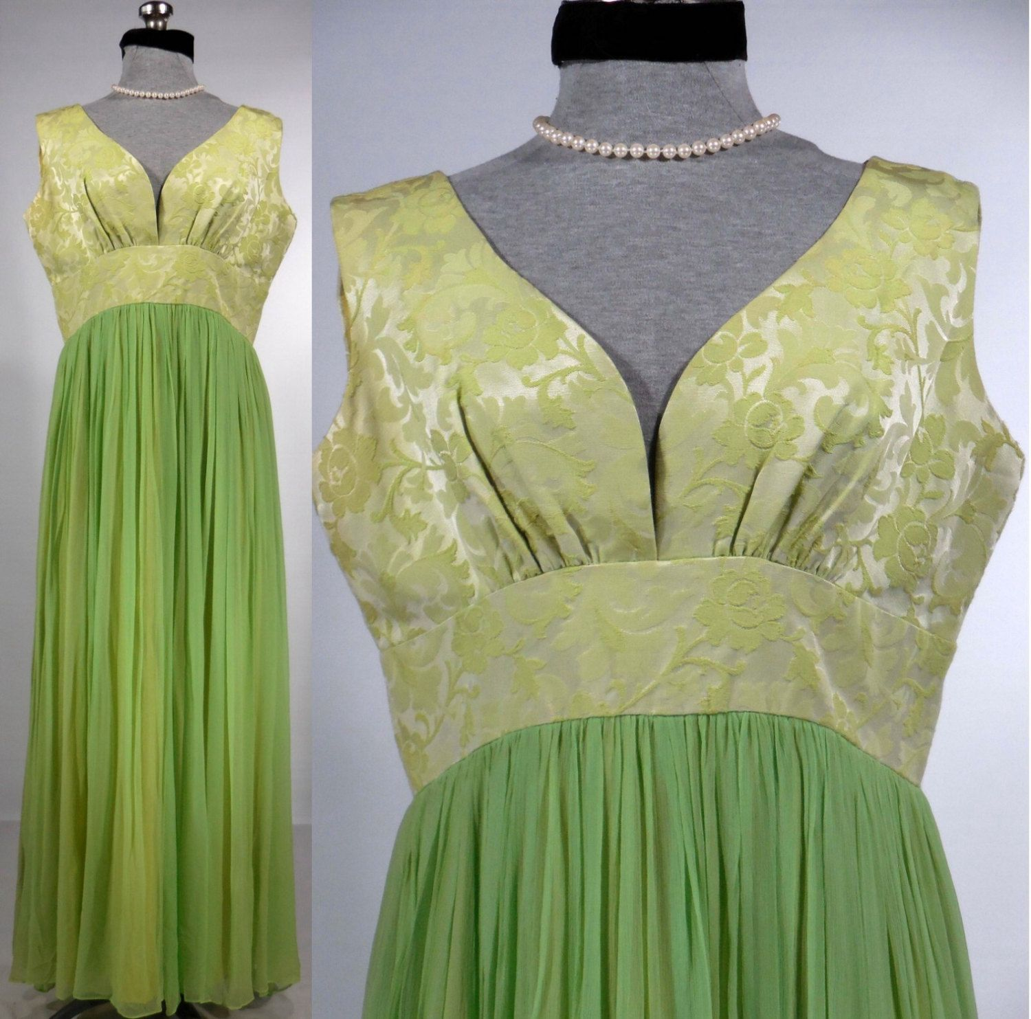 Vintage 1950s60s long evening gown celery green sleeveless maxi vintage 1950s60s long evening gown celery green sleeveless maxi stephen ogrady size ombrellifo Image collections