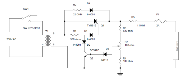 Battery Charger Circuit Using Silicon Controlled Rectifier (SCR ...