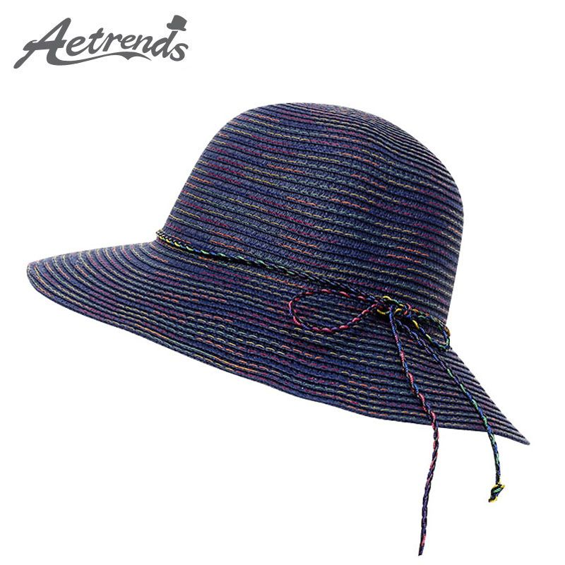 4d0f8c916cf  AETRENDS  2017 Summer Hats for Women Wide Brim Straw Hat Sun Protection  Panama Cap Z-5134