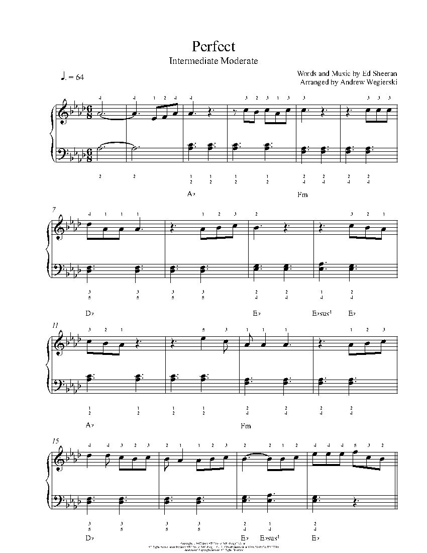 Perfect By Ed Sheeran Piano Sheet Music Intermediate Level