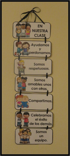 Classroom Expectations In English And Spanish 15 Cards To Choose From In Each Language Helpful To Build A Sense Of Community Educacion Normas De Clase Aula