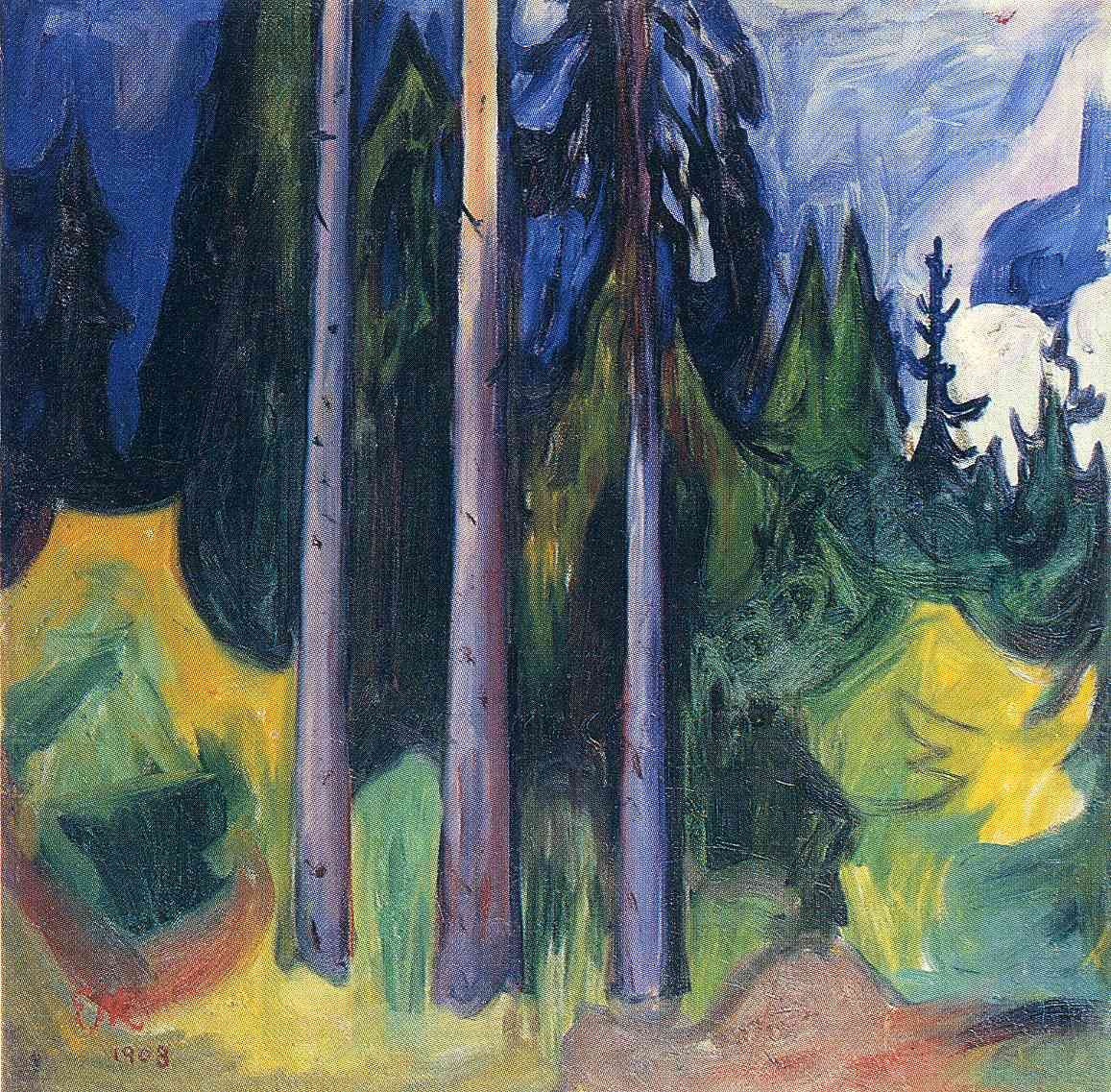 """Edvard Munch (1863-1944), Loten. Norwegian painter and printmaker. """"Forest"""" (1903). Style: Expressionist landscape. Oil on canvas. 82.5x81.5cm. The Munch Museum."""