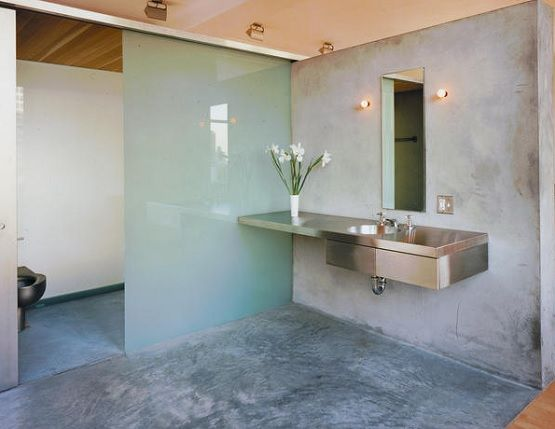 Beau Bathroom With Sliding Shower And Concrete Bathroom Floor