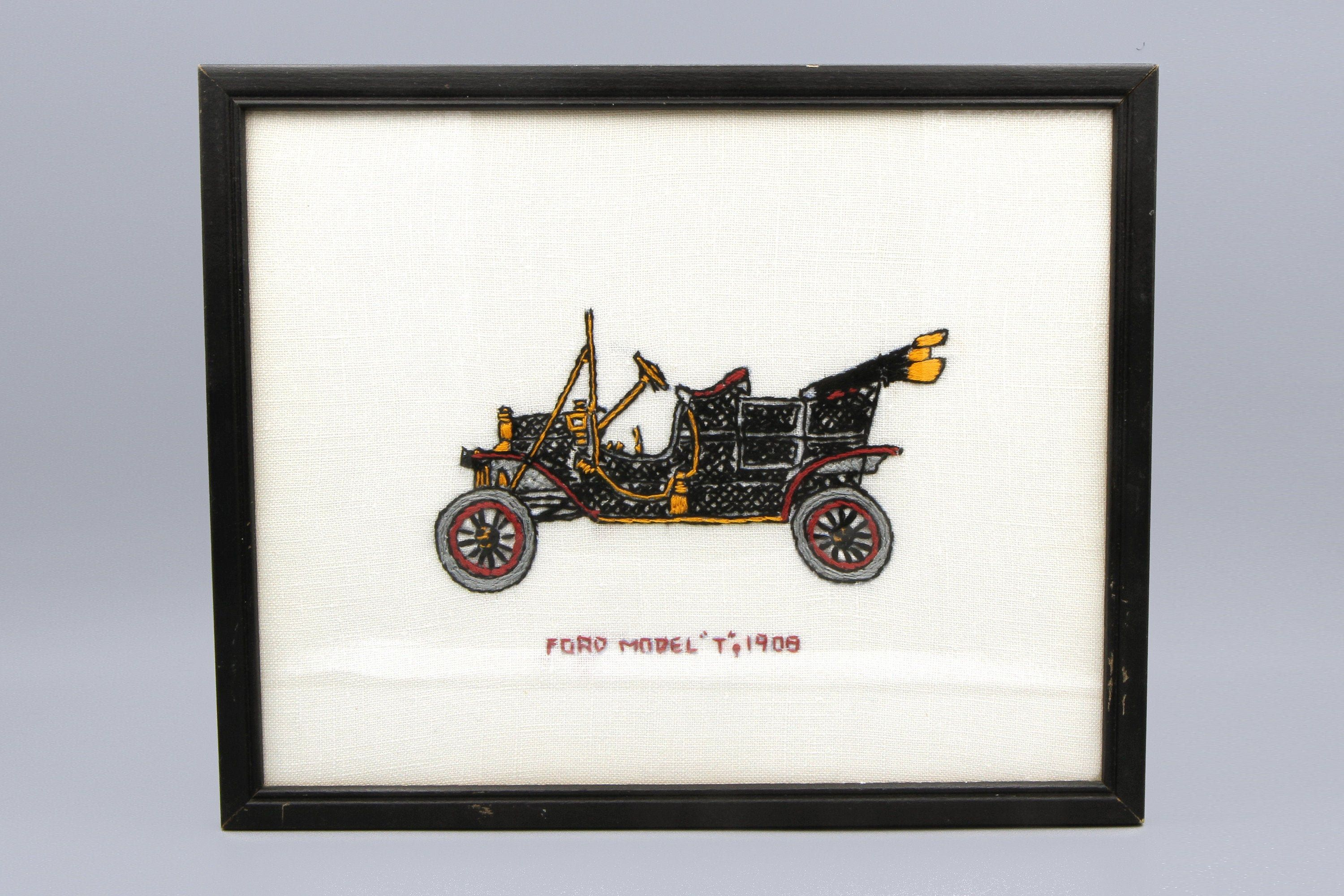 Antique Car Wall Hanging Hand Embroidered Old Car Ford Model T 1908 Wall Decor Vintage 50s Car Wall Ar Car Wall Art Embroidery Wall Art Embroidered Wall Art