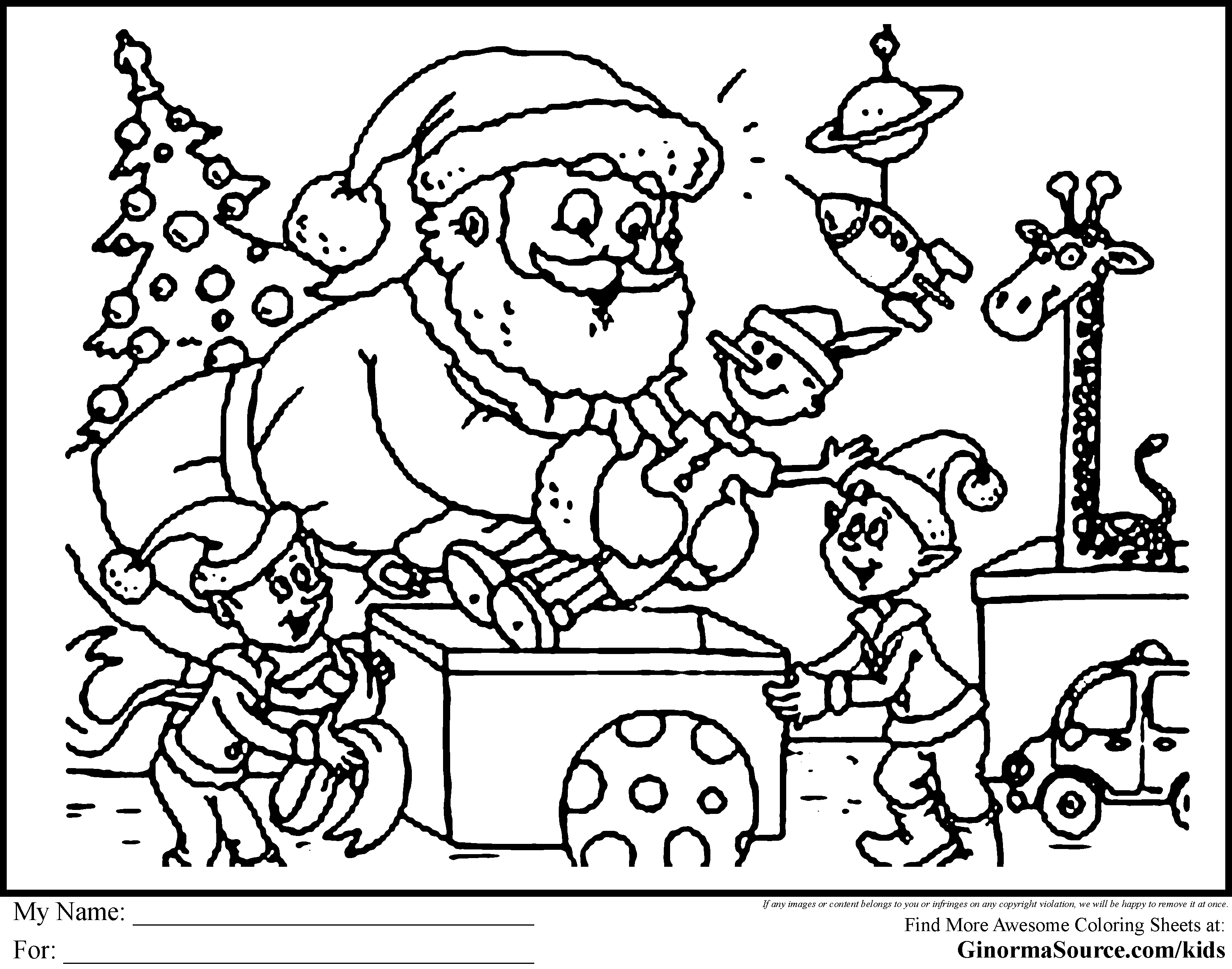 Christmas Coloring Pages for Adults | Here Santa is supervising the ...