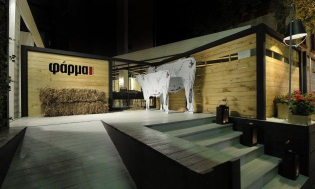 Restaurant in Griekenland dat men bewust op een boerderij deed lijken. Zie meer dieren op http://www.designboom.com/weblog/cat/16/view/22175/mclaren-12c-spider-convertible.html