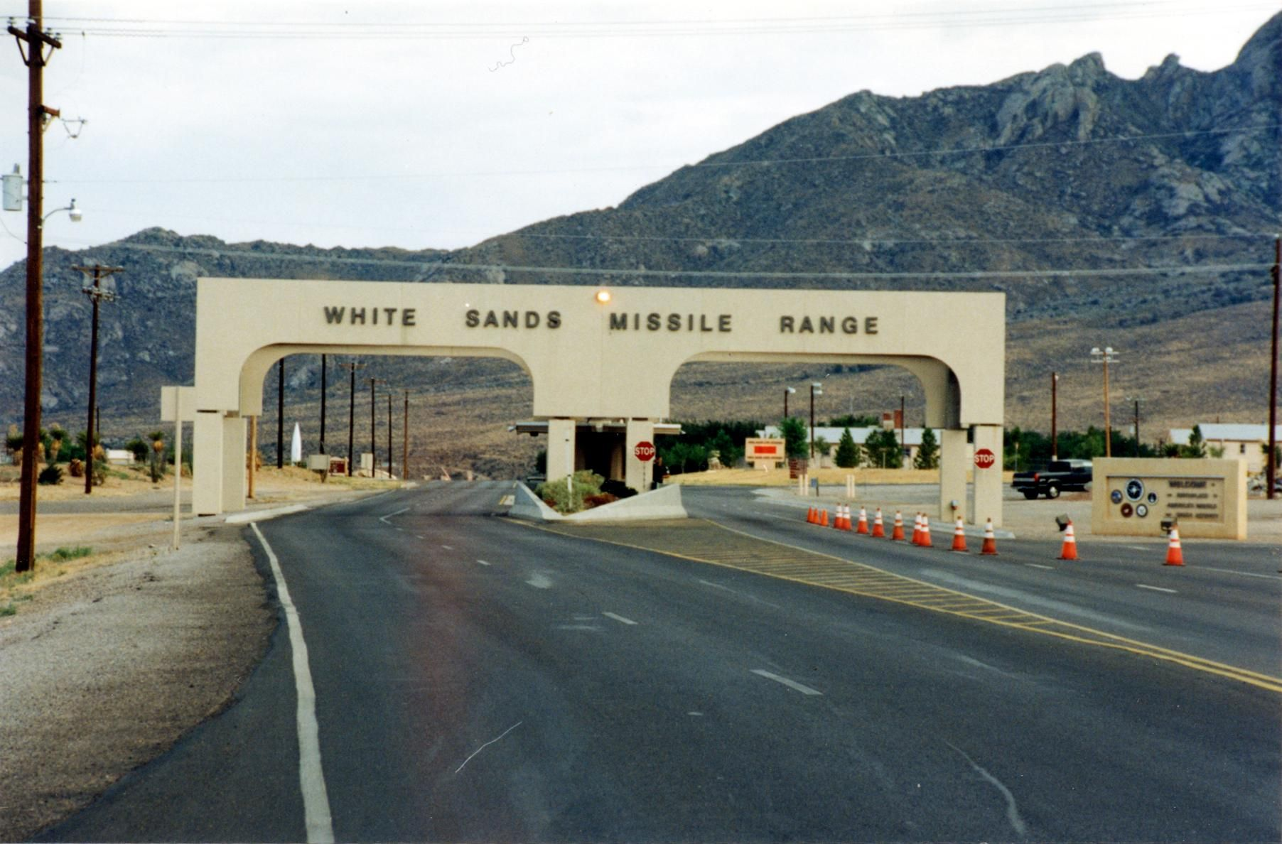 Entrance to the military base at White Sands Missile Range