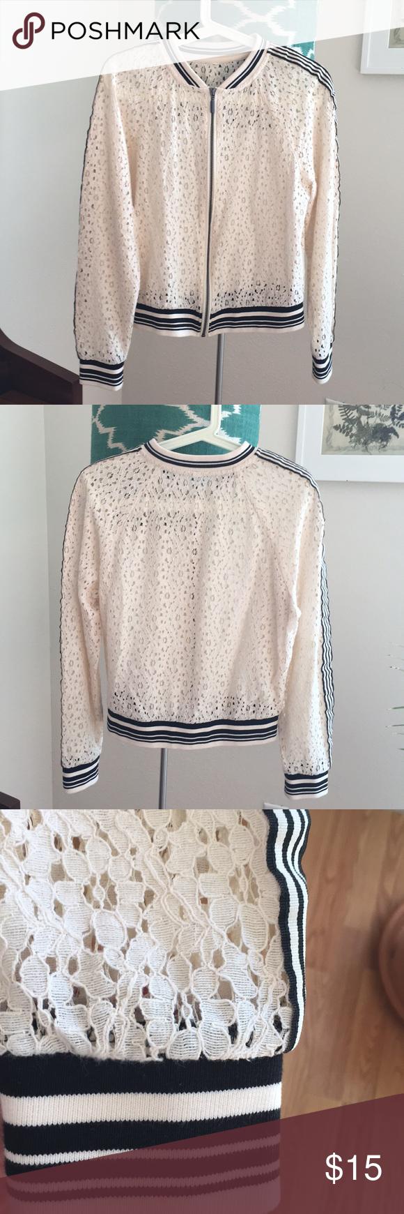 Athletic Ivory Lace Bomber Jacket And Customer Support Hanger Marksspencer Slim