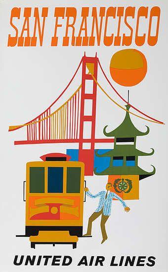 "1960s ""San Francisco"" Vintage Style California Travel Poster 20x30"