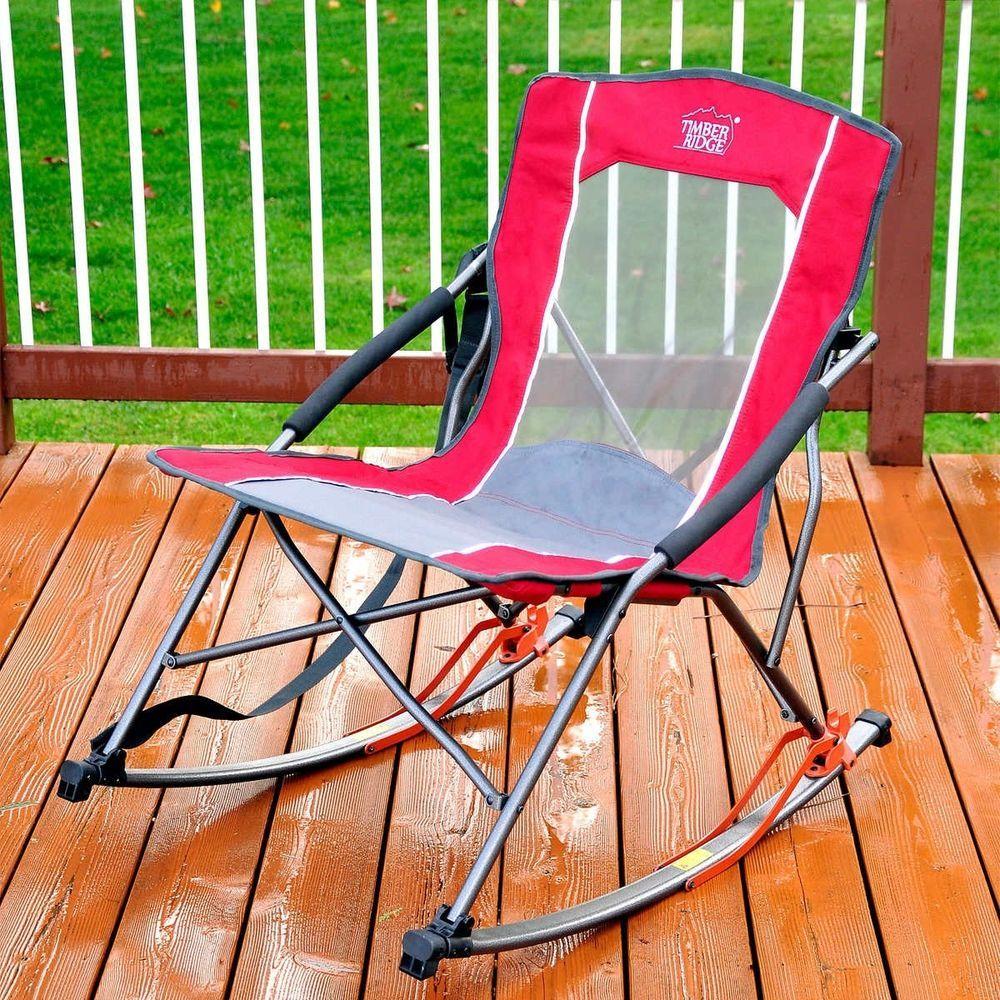 bc1b75afc7d Folding Rocker Chair by Timber Ridge w Carry Bag Camping High Back ...