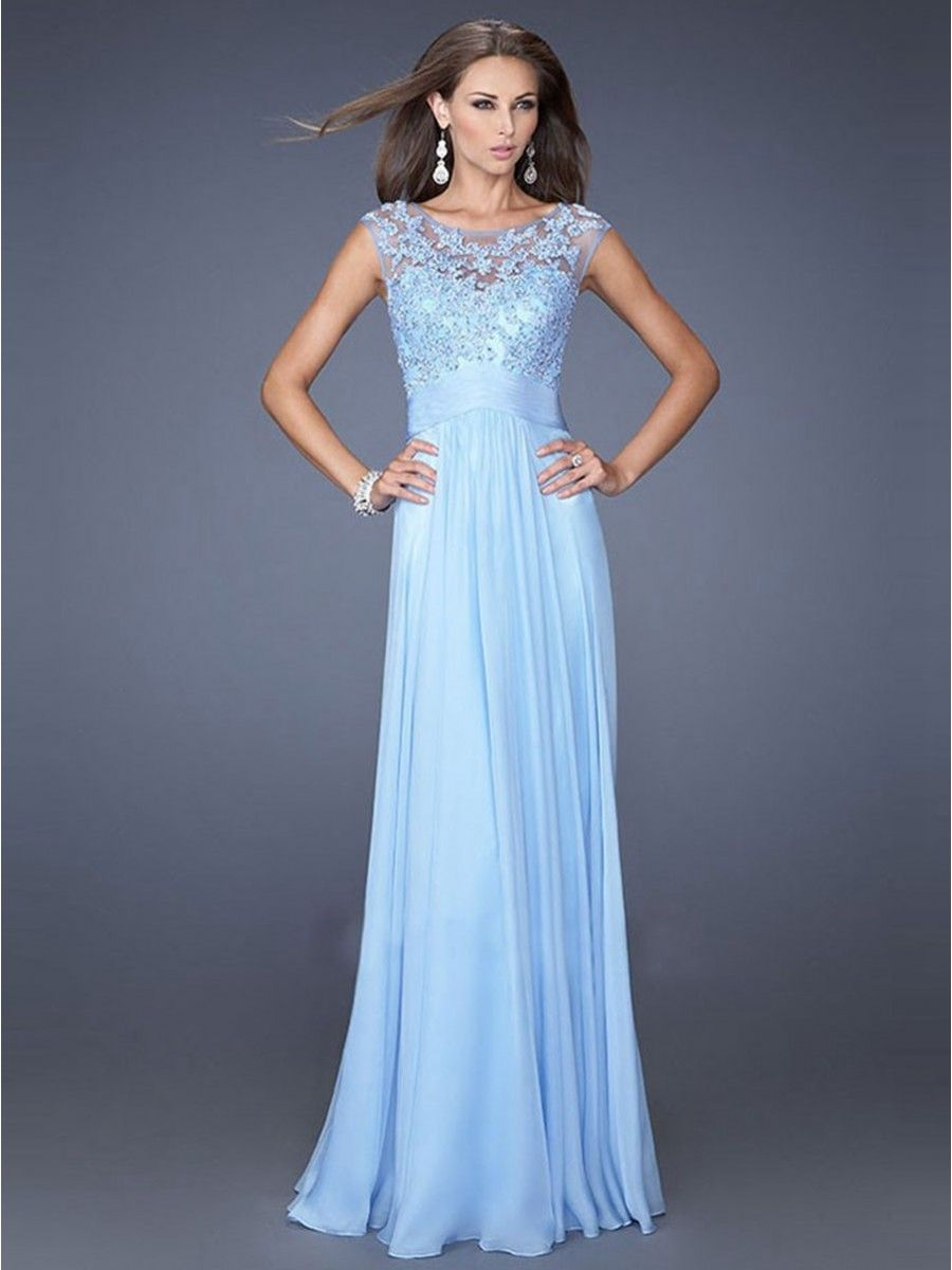 Cap sleeves lace and chiffon long blue party evening prom dresses