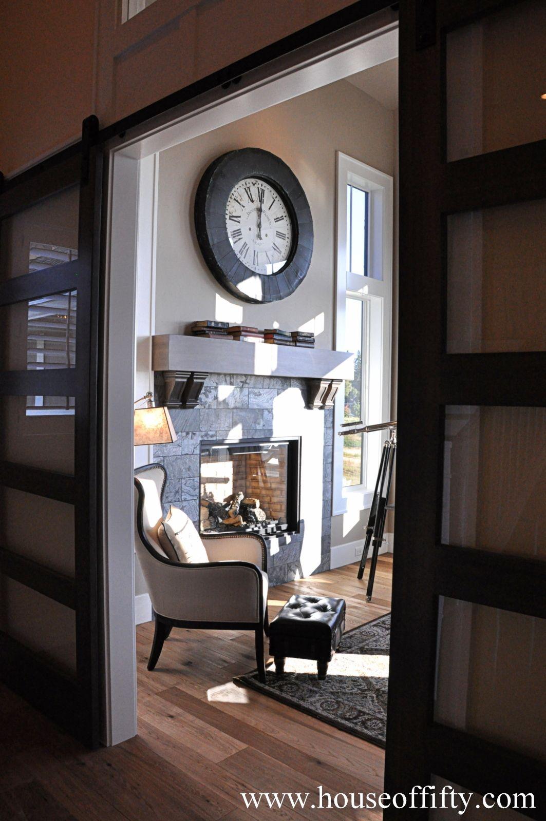 Fabulous Glass Barn Style Sliding Doorsalso Love The Wall Clock