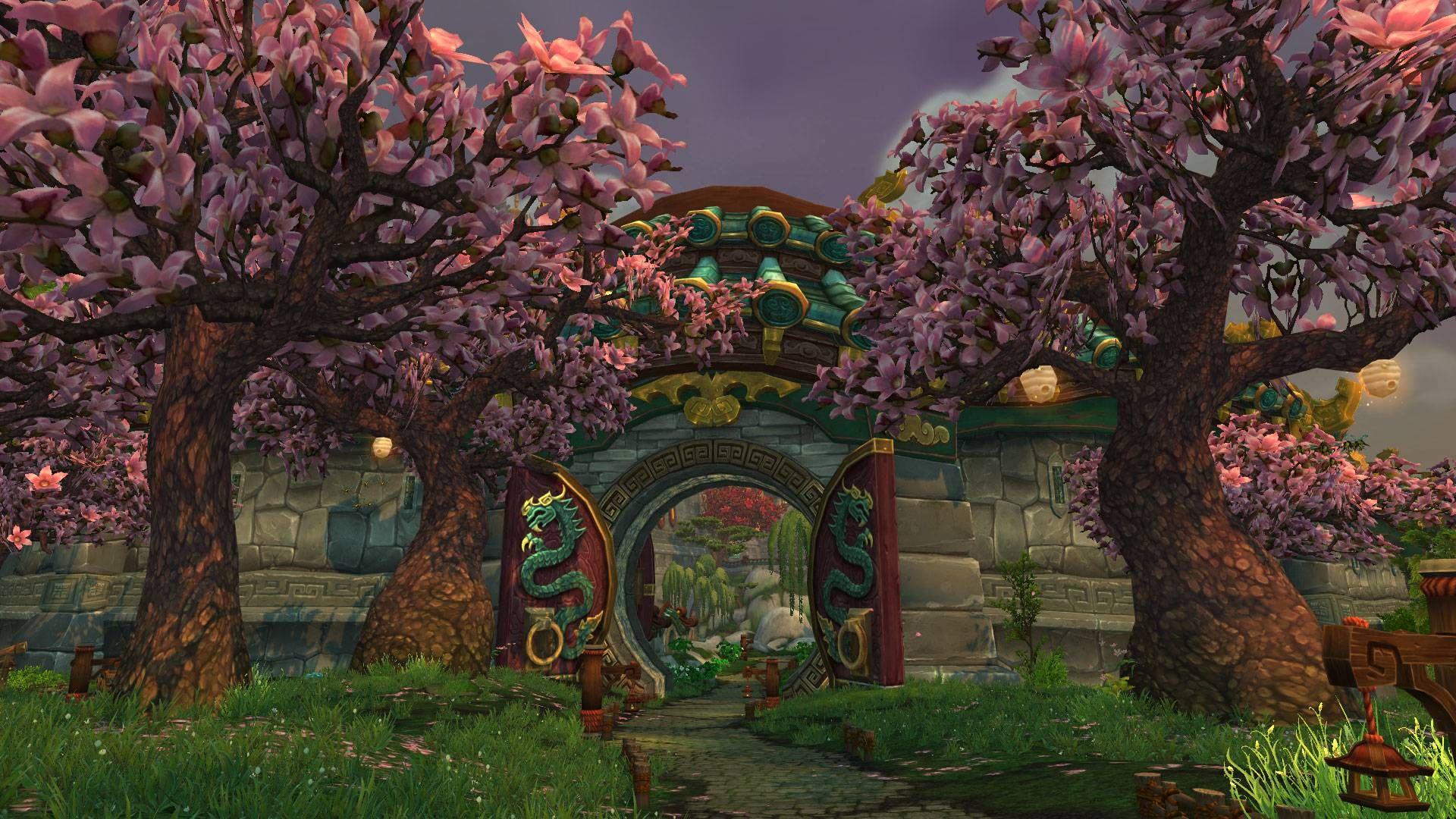 World Of Warcraft Cherry Blossom Trees Screenshot 1920x1080 Cherry Blossom Tree World Of Warcraft Warcraft