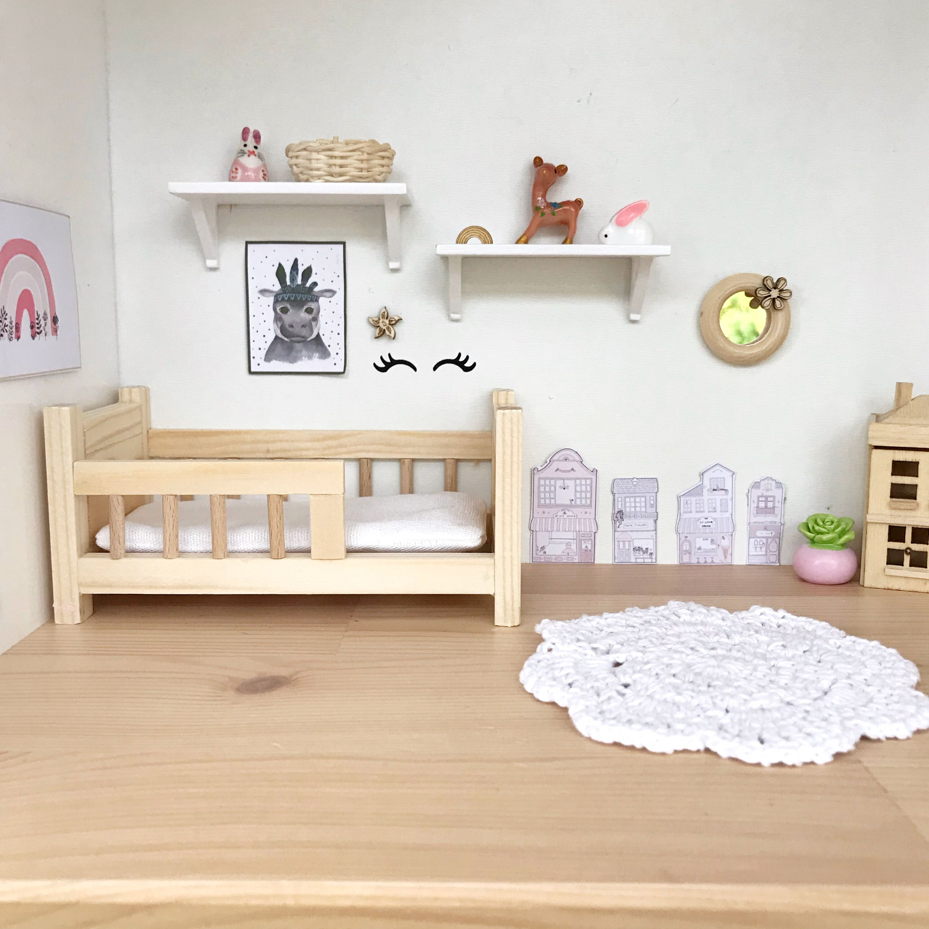 Modern dollhouse toddler kids bed