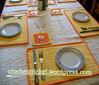Sunrise Placemat And Coaster Set Finished Placemats Crochet Placemats Crochet Coasters
