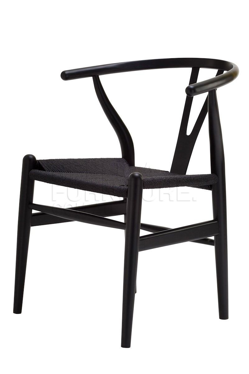 Replica Hans Wegner Wishbone Chair Black With Cord Seat The Was Designed In 1949 By Denmark S Foremost Furniture Designer