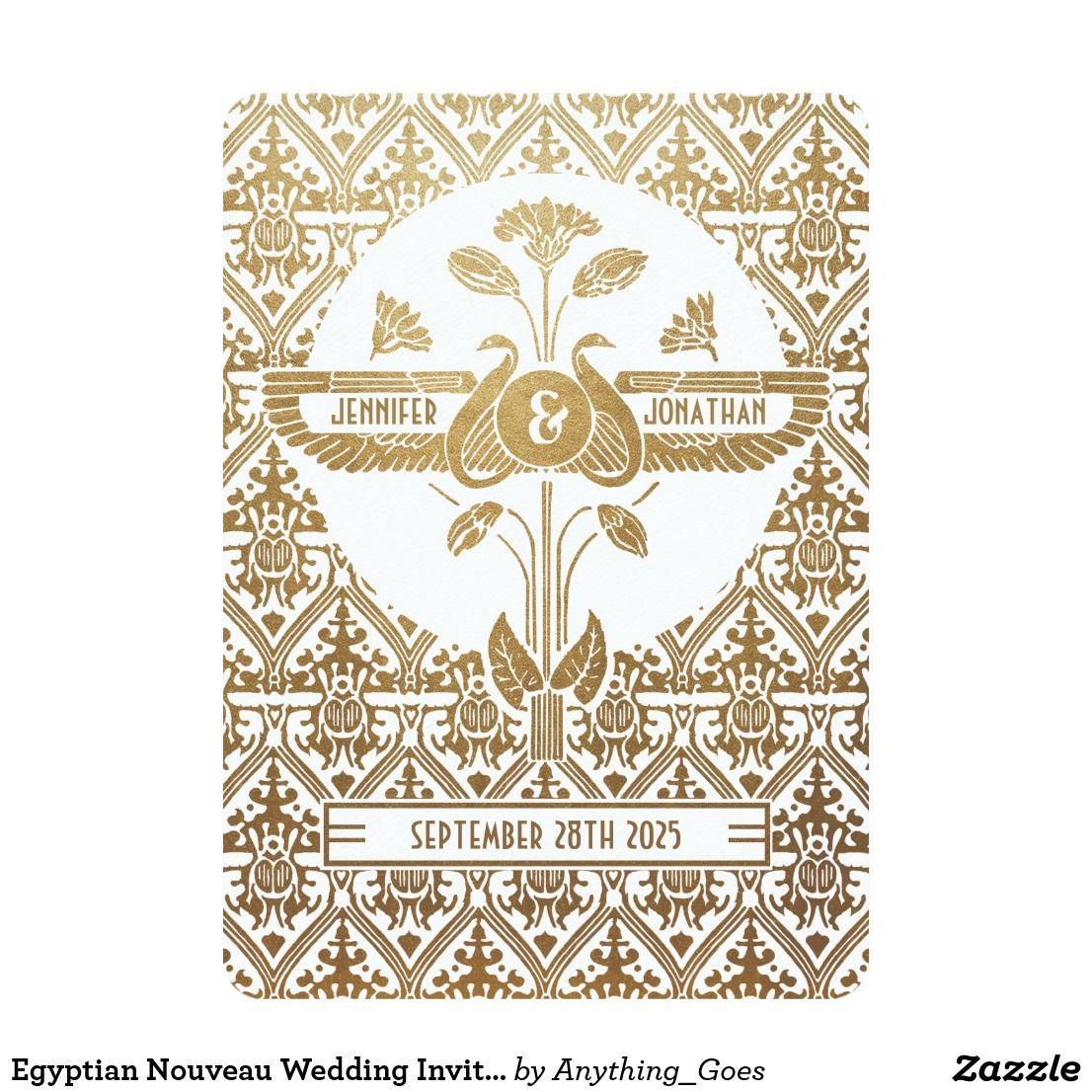 Egyptian Nouveau Wedding Invitations Gold & White | Weddings and Wedding