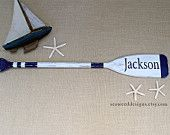 """41"""" Personalized Nautical Nursery Decor Paddle (1) with Name / Stripes / Washed Distressed over homemade driftwood stain"""