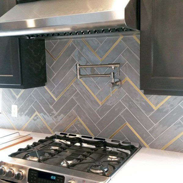 Top 50 Best Metal Backsplash Ideas - Kitchen Interior Designs #greykitcheninterior
