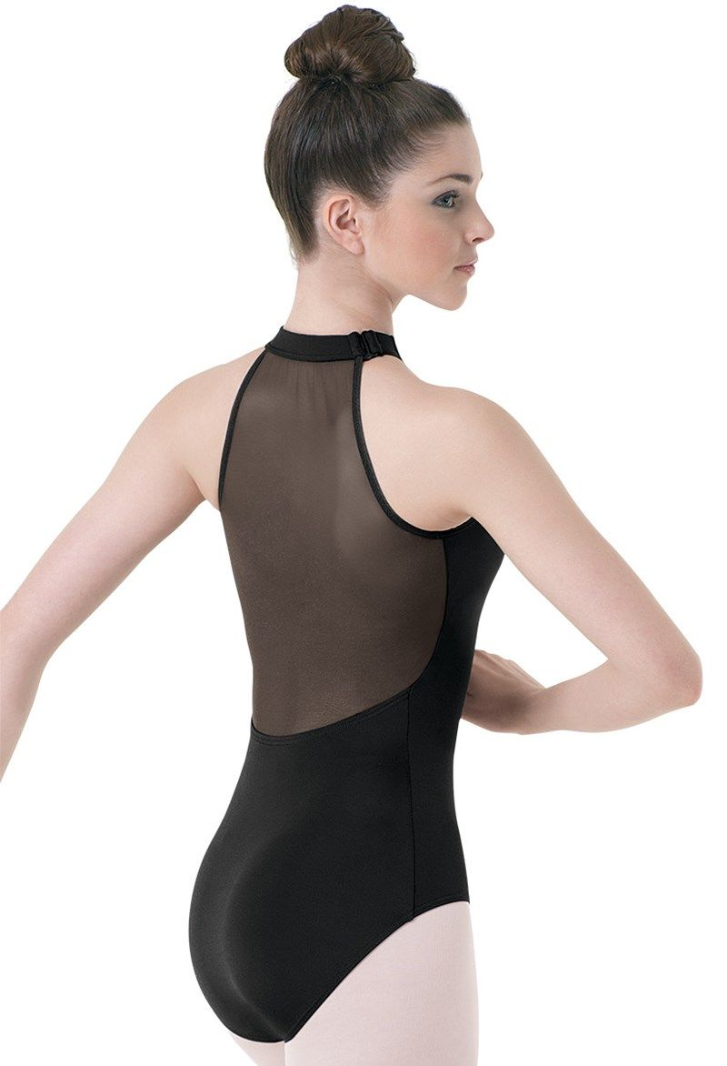09cae0816 High-Neck Illusion Mesh Back Leotard