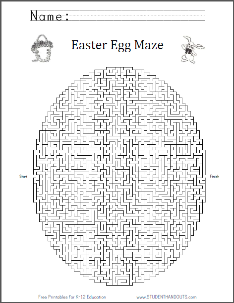 easter egg maze worksheet