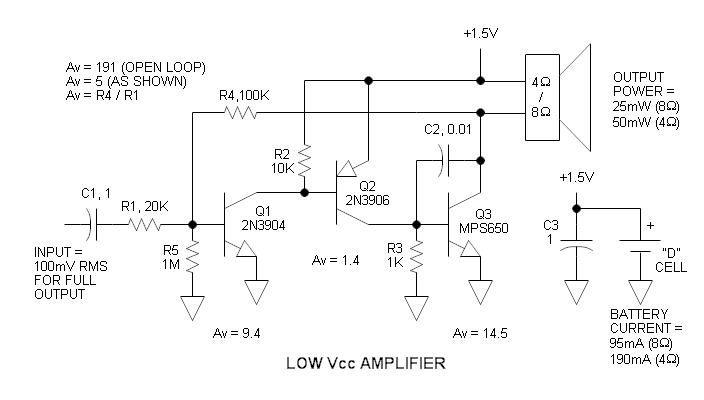 Low Vcc Amplifier Schematic Audio Amplifier Amplifier Electronics Circuit