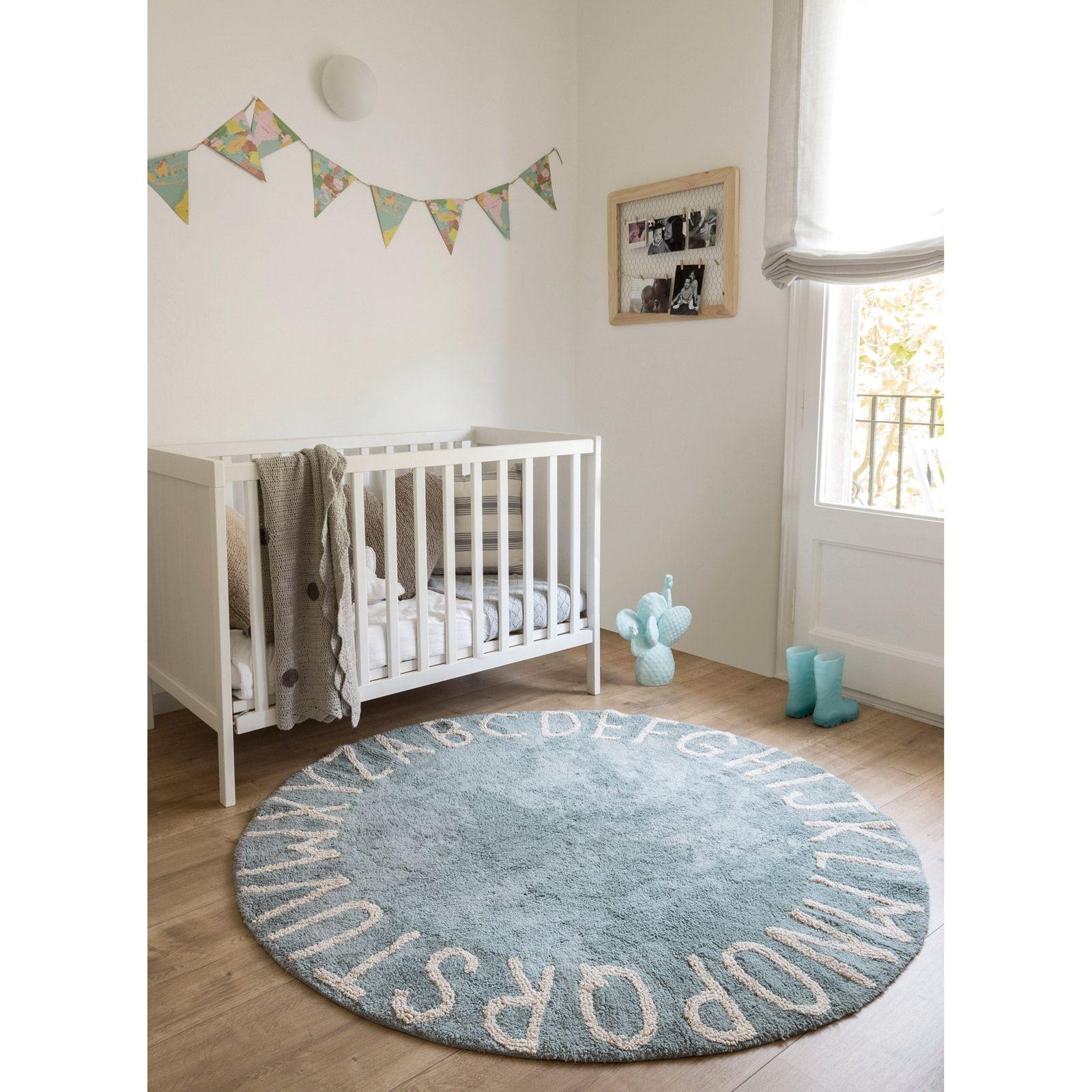 Tapis Lavable Rond Abc Vintage Bleu 150 Cm Tapis Rond Chambre Garcon Chambres Pour Bebes Jumeaux