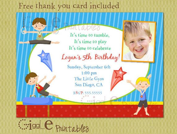 Boy Gymnastics Birthday Invitation FREE Thank By GigglePrintables 1000