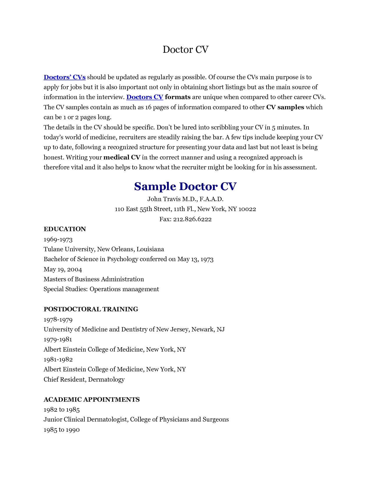 Samples Of Curriculum Vitae Medical Doctor Curriculum Vitae Example  Httpwwwresumecareer