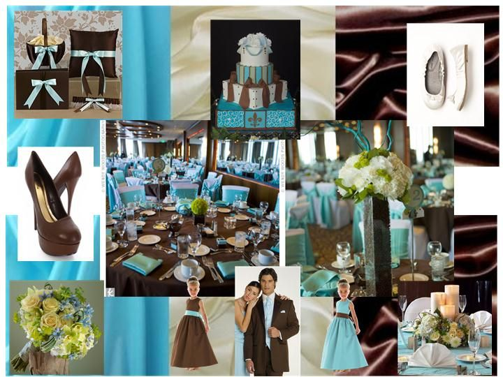Pool Blue Chocolate Brown Ivory Pantone Wedding Styleboard The Dessy Group
