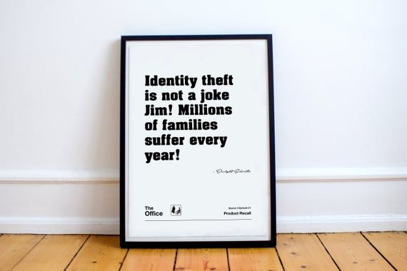 The Office Quote Poster - Identity Theft, Dwight Schrute, The Office, The Office TV Show, The Office