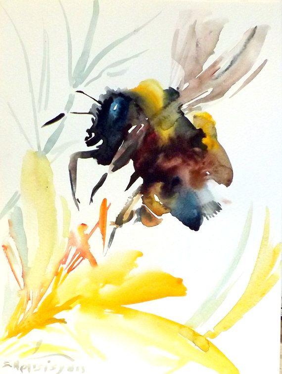 bee original watercolor painting 12 x 9 bee art bee