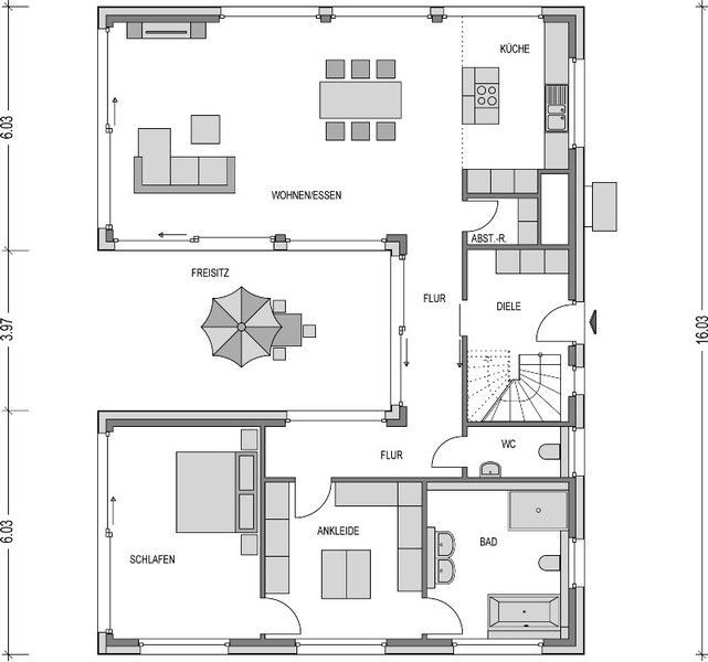 Modernarchitecture Bungalow Grundriss U Form In 2020 Bungalow Floor Plans Model House Plan House Plans