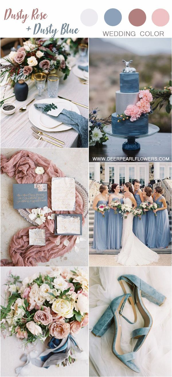 dusty blue and dusty rose wedding color ideas #weddings explore Pinterest