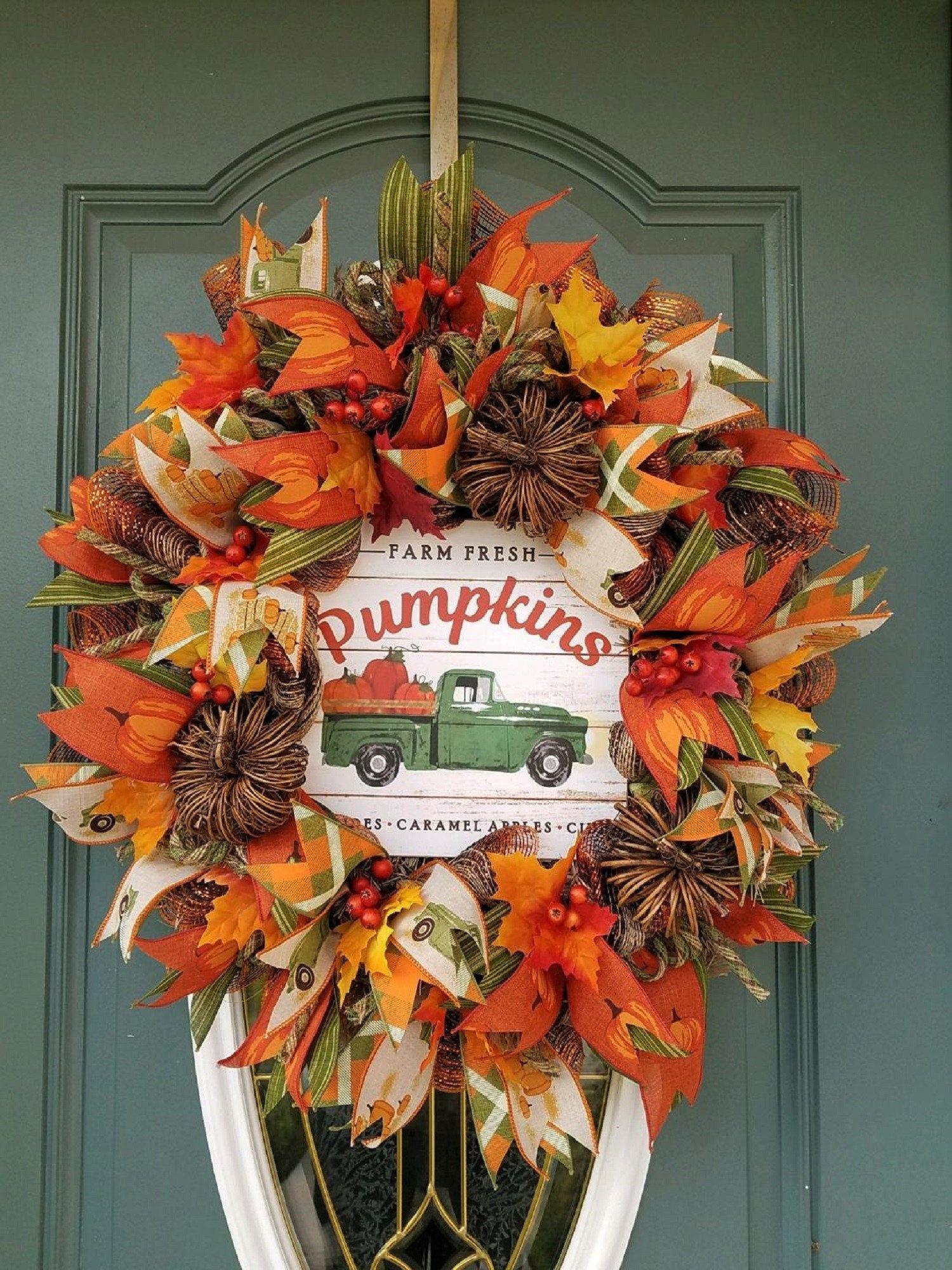 Fall Wreath For Front Door Halloween Wreath For Front Door Fall Truck Wreath Thanksgiving Wreath For F Door Wreaths Fall Fall Wreath Thanksgiving Wreaths