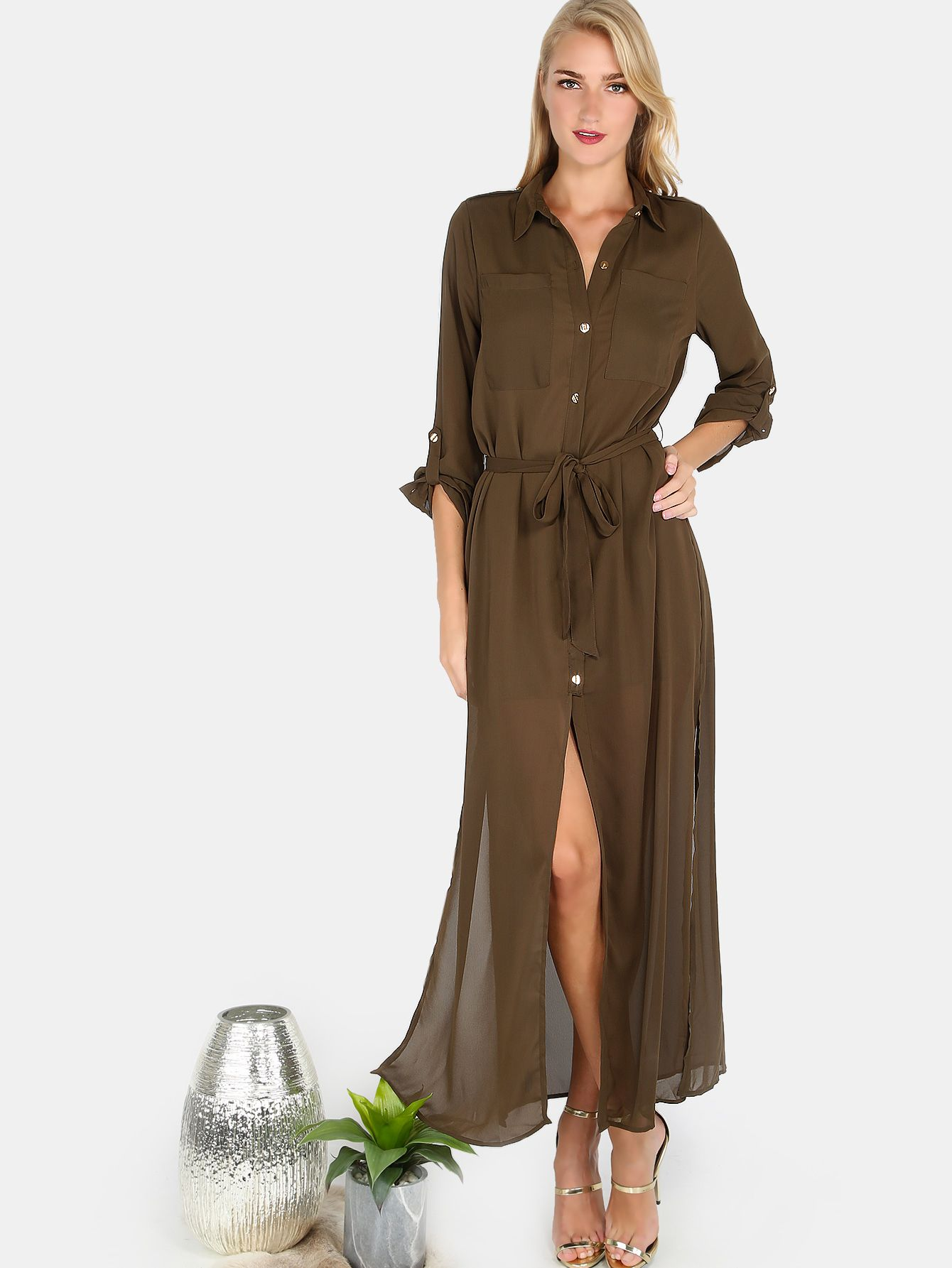 60bf2a11 Collared Button Down Belted Maxi Dress OLIVE | ☪Party Perfect ...