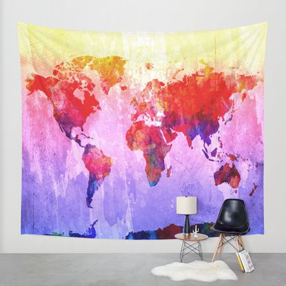 World map wall tapestry by bekim art society6 want pinterest world map wall tapestry by bekim art society6 gumiabroncs Image collections