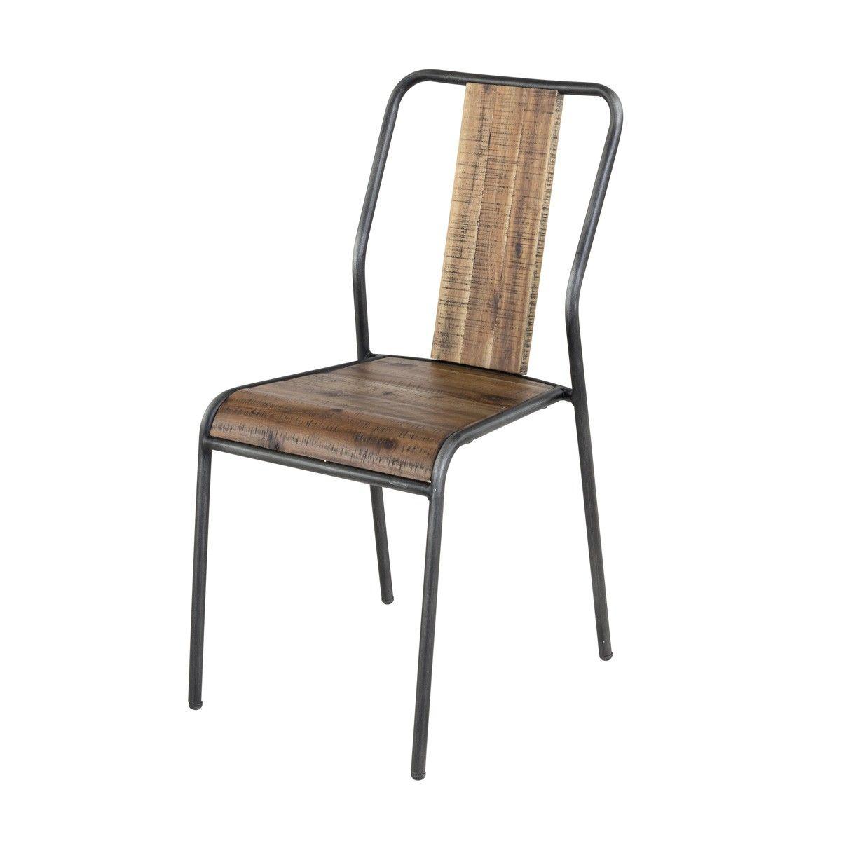Chaise Bois Et Metal Industriel chaise bois et métal style industriel cusco lot de 4 | zago