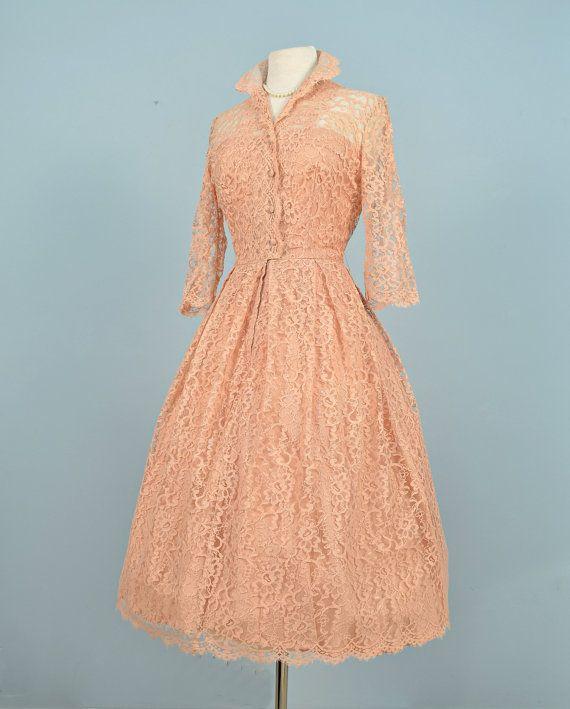 Vintage 1950s Wedding Dress...Beautiful Apricot Tea Length Lace Wedding Dress