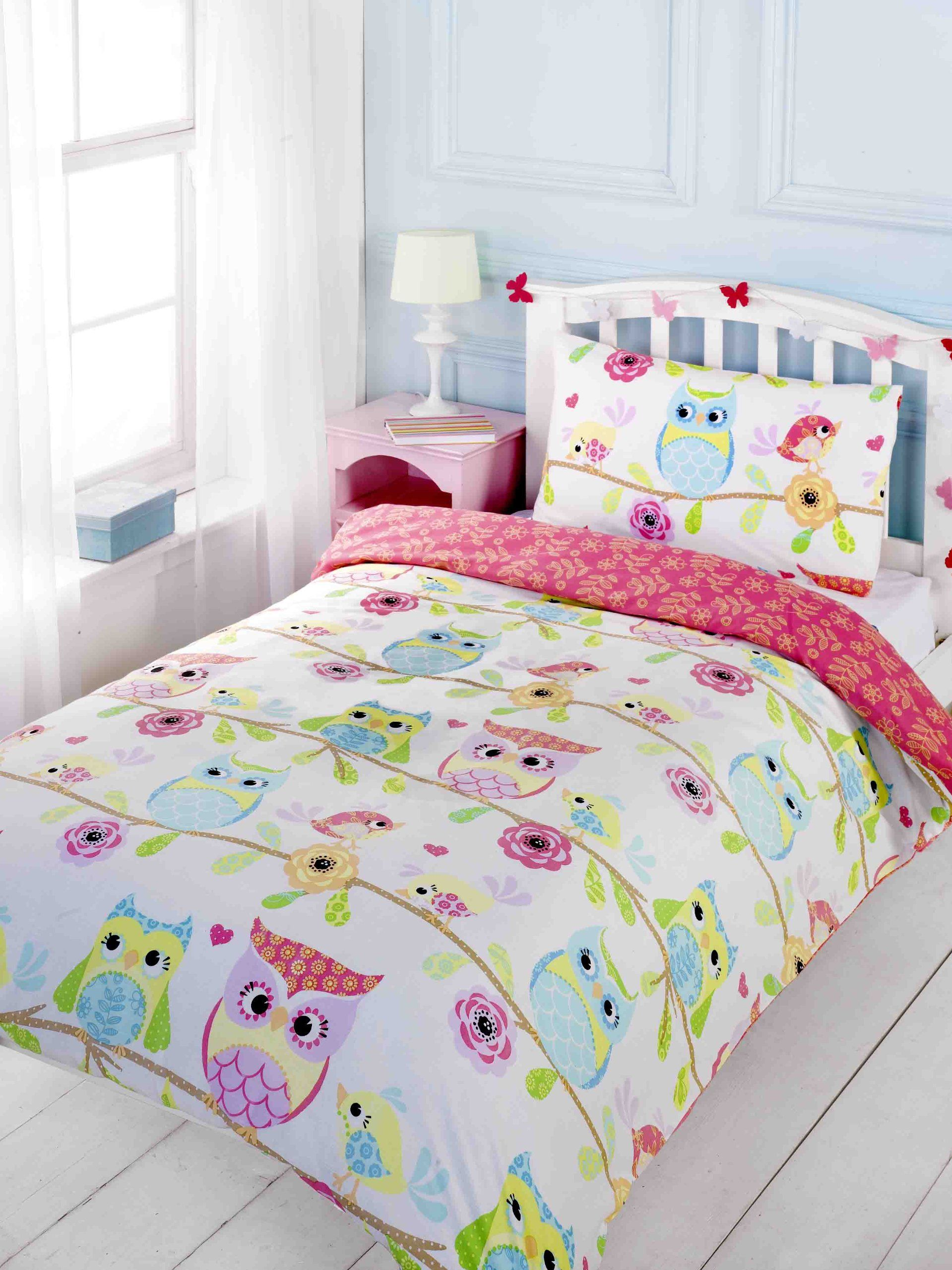 Funny bed sheets - Childrens Girls Owl Friends Birds Flowers Duvet Cover Quilt Bedding Set