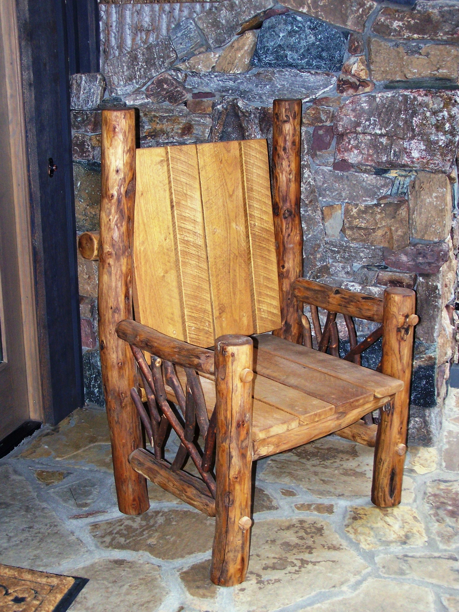 Rustic Wood Chairs Rustic Chair Love It Porches Patios And Landscaping
