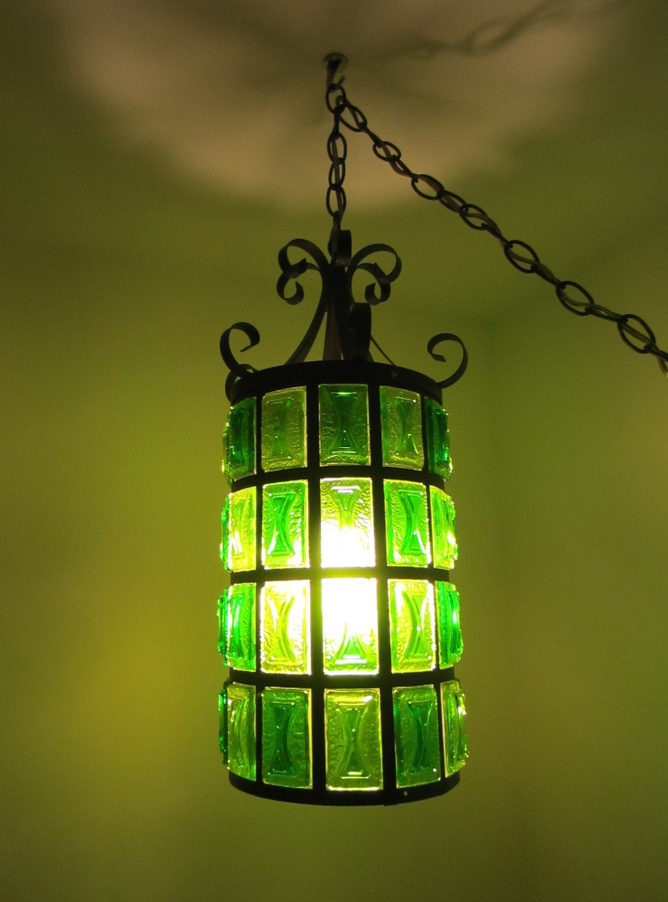 A Pendant Hangs From A Single Cord With Just One Light Bulb At The End Inside A Beautiful Lucite Green Decorated Shade Long Chain White Long Co Vintage Lamps
