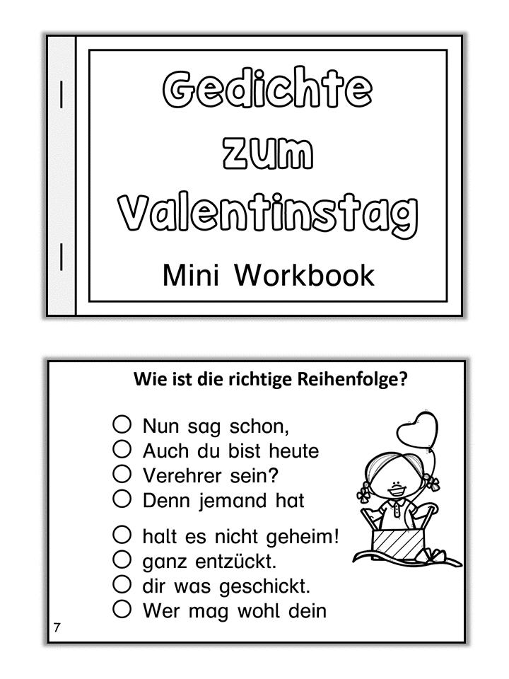 German Mini Book Gedichte Zum Valentinstag Kurze Gedichte