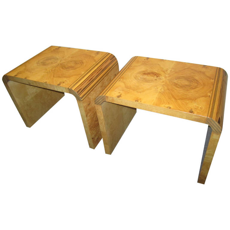 Handsome Pair Henredon Scene 2 Olive Wood Stools End Tables Mid ...