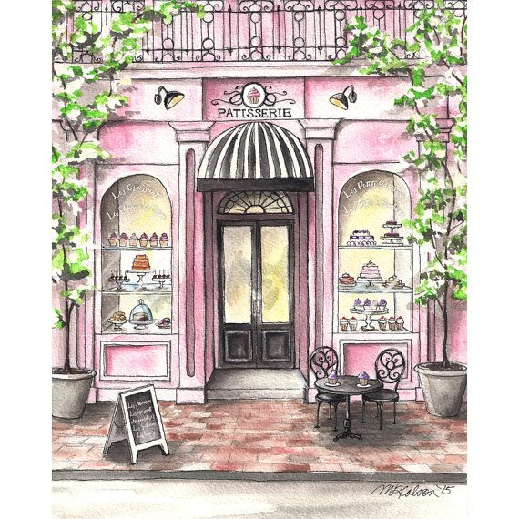 French Patisserie Watercolor Print French Bakery Paris Cafe 5x7