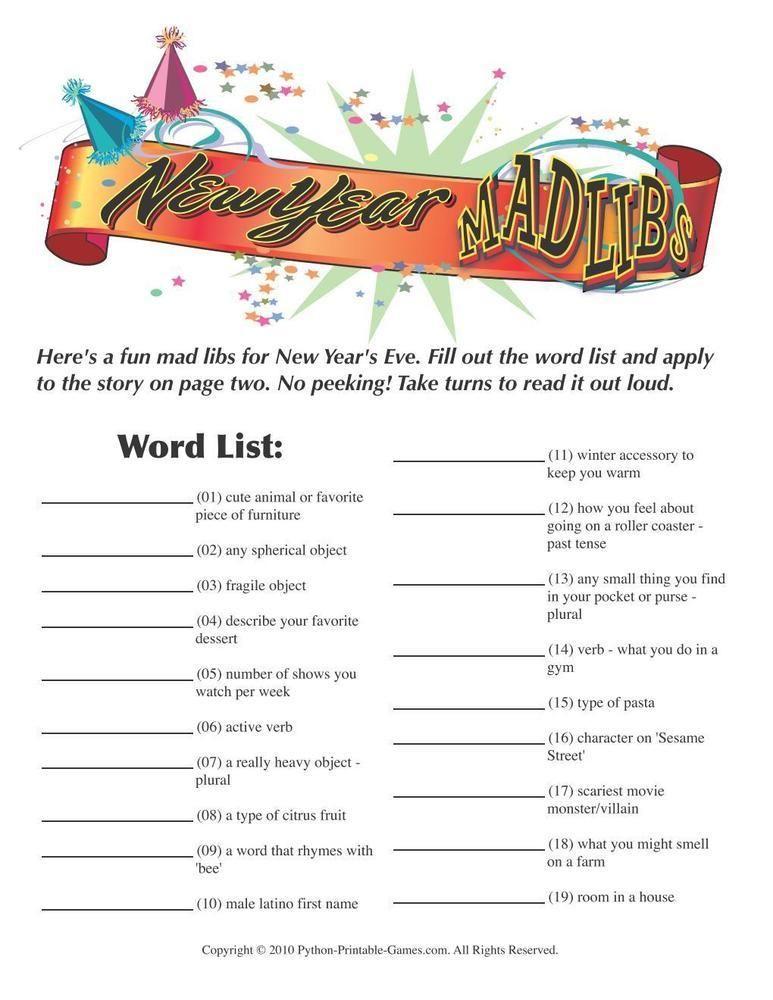 New Year S Eve New Years Eve Games New Years Eve Mad Libs