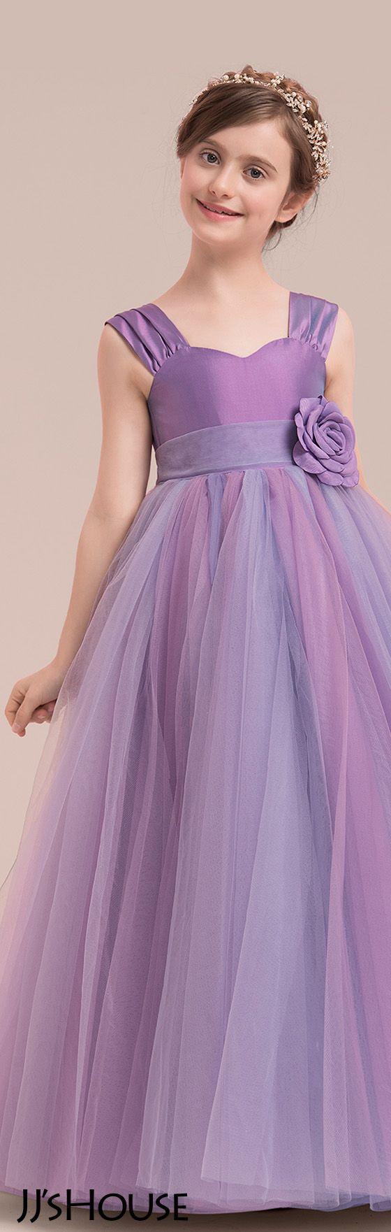 Ball Gown Floor-length Flower Girl Dress - Taffeta/Tulle Sleeveless ...